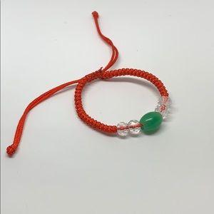 Natural jade crystal bead red string bracelet